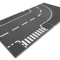 LEGO # 7281 CITY - SUPPLEMENTAL_T-JUNCTION & CURVED ROAD PLATE ready