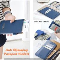 Jual Anti Skimming Passport Wallet BLUE Dompet banyak sekat  Murah