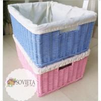 Jual Kotak Storage Box Penyimpanan Rotan Lapis Kain Warna Biru Muda & Pink Murah