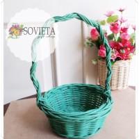 Jual Keranjang Bulat Tangkai Rotan Handmade Warna Hijau Tosca Murah