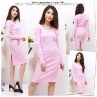 Jual *Bodycon knit FT* dress wanita softknit baby pink terbaru Murah