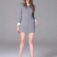 Jual Grey Pleated Fake 2pcs Dress Murah