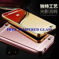 Jual FREE Tempered Glass Redmi 3 Mirror Metal Bumper Case Cover Casing Murah