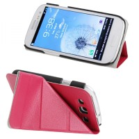 Jual Horizontal Flip Leather Case Cover -Merah-Samsung Galaxy Siii/i9300 Murah