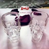 Cuci Gudang!! Crystal Skull Head Vodka Whiskey Shot Glass