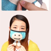 masker korea penutup hidung mulut lucu animasi wajah kaki kantong