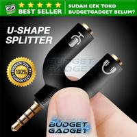 U Shape Jack 3.5mm Male to Dual Female Audio Splitter