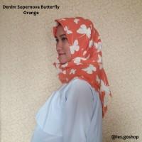 Denim Supernova Butterfly (tepi rawis) / Jilbab Segi Empat Murah