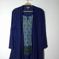 Branded Big Size Blouse Cardigan WhiteStag Seablue Hijab Muslim