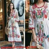 Jual Baju Wanita Fashion 16224 Balotelli Longdress Ethnic Embroidery IZUKA Murah