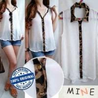 Jual  MINE Leopard Trim Detail Shirt T3010 Murah