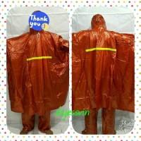 Jual Jas hujan Poncho Lengan + Celana Karet Hybrid Dolphin Blue Tebal Murah