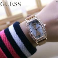 Jam Tangan Guess Kulit Coklat Fashion Wanita/Cewek