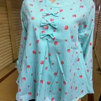 Atasan katun salur blouse wanita lengan panjang baju abg grosir murah