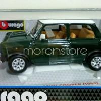 Bburago Diecast Skala Besar 1/18 1:18 Mini Cooper Mr.Bean 1969 Green