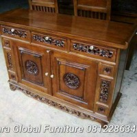 bufet jati ukir palembang ( nakas sofa meja makan kursi tamu dipan )