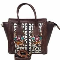 Jual tas jinjing Wanita Kulit Sapi Asli coklat tua lukis batik etnik klasik Murah