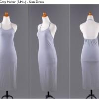Jual S3626 Dress Midi Bodycon Halter Import Grey Ab KODE YT3626 Murah
