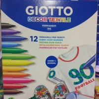 Jual Spidol permanen khusus kain GIOTTO 12 warna / Decor textile spidol Murah