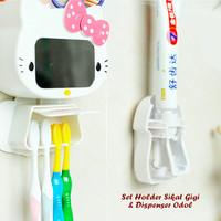 Jual BEST SELLER Set Holder Sikat Gigi Dispenser Odol HELLO KITTY Murah