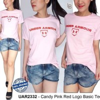 Jual G019 ORIGINAL Under Armour  Candy Pink Red Logo Basic Tee  Murah