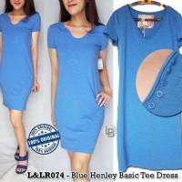 Jual DAPATKAN HARGA TERLARIS Lucy Laurel Blue Henley Basic Tee Dress origi Murah