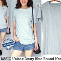 Jual DAPATKAN TERBATAS BASIC Unisex Dusty Blue Round Neck Tee baju branded Murah