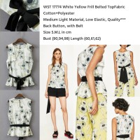 Jual  WST 17774 White Yellow Frill Belted Top  Murah