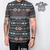 Jual Kemeja Pendek Batik Songket Black Krah   Murah