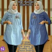 Jual Paling Laris 54698 owl pocket  pocket/baju muslim wanita/baju tunik Murah