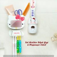 Jual Set Holder Sikat Gigi & Dispenser Odol HELLO KITTY Murah