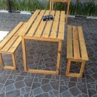 1 Set Meja dan 2 Kursi Panjang Ter Murah untuk Cafe Warkop