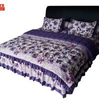 SORAYA Bedsheet - Sprei Rimpel + Bed Cover Rose Daisy Ungu