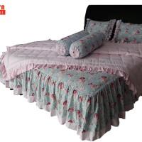 SORAYA Bedsheet - Sprei Rimpel + Bed Cover El-bhe Tania Biru