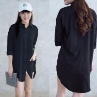 Pakaian Baju Cewek Wanita Terbaru [Long Hem Caren Hitam SW] kemeja