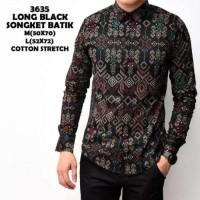 Jual Ready Kemeja Batik Songket Pria Black Panjang Kantor Slimfit Baju Murah