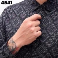 Jual Ready Kemeja Batik Songket Black Panjang kerja Kantor Slimfit Batik Murah