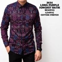 Jual Ready Kemeja Batik Songket Pria Purple Panjang Slimfit Kerja Kantor Murah