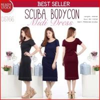 Jual Scuba Bodycon Midi Dress DS766 Murah