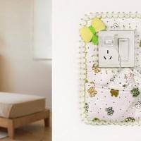 Jual Hiasan PInggir Saklar Lampu Pocket Kantong Motif Bunga Kupu Dekorasi Murah