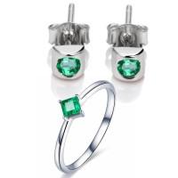 Jual Tiaria Green Emerald Jewelry Set Perhiasan Anting Cincin Emas 18K  Murah
