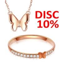 Jual Tiaria Butterfly Jewelry Set Necklace & Ring Perhiasan Emas Wanita Murah