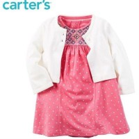 Jual promo CARTER'S Set 2 in 1 CARDIGAN + DRESS (WHITE SOFIA) Murah