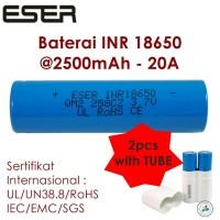 Jual Eser 18650 2500mAh 20A Baterai Vapor Battery Vape Rokok Elek. B25x2+T Murah
