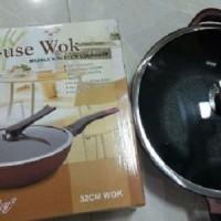 Wajan Keramik anti lengket Multi Use Wok Royal Chef 32 cm bagus mura