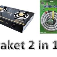 Paket 2 In 1 Kompor kaca 2 tungku W668 Winn Gas + Paket Winn Deluxe