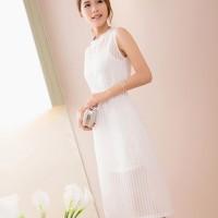 Baju Long Dress Wanita Organza Long Dress Import LD4134-3111 White Imp