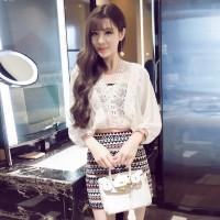 Jual Chiffon + Knitted Top+Skirt (S,M,L) - 31163 Murah