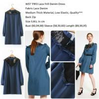 Jual WST 17813 Lace Frill Denim Dress Murah