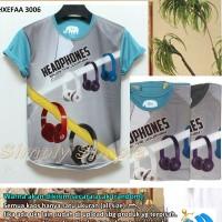 Jual Kaos Oblong Full Print - Headphones 3006 Murah